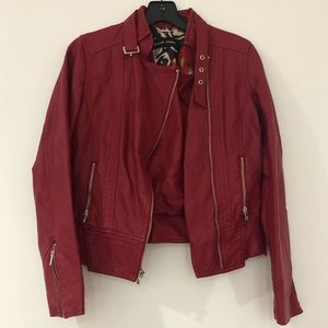 Red faux leather jacket size XS